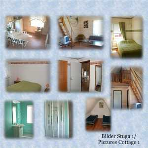 Stuga med 6 b�ddar. 2 sovrum nere och ett p� loft. Cottage with 6 beds. 2 bedrooms downstairs and one on the loft.